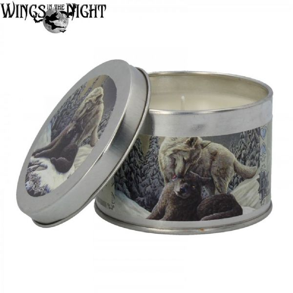 LISA PARKER Snow Kisses Wolf Tin Candle by Nemesis Now